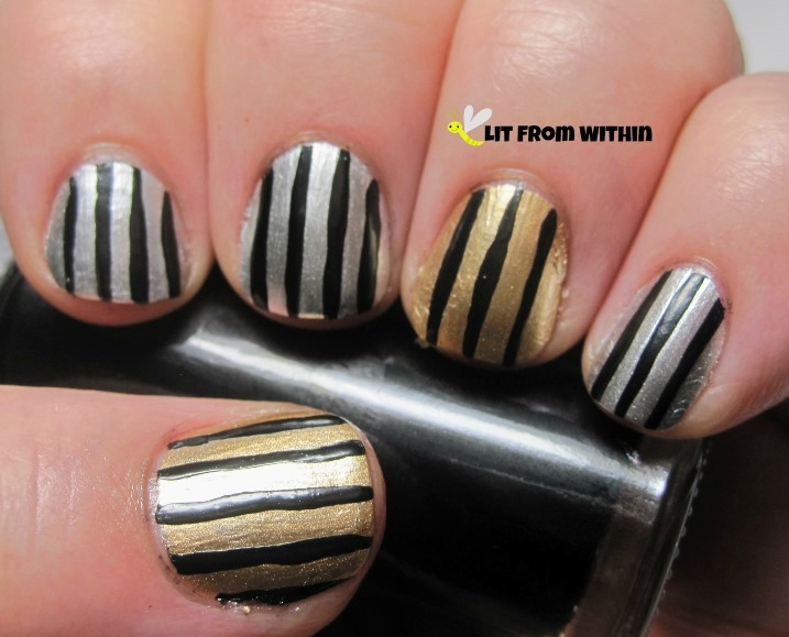 used my trusty black nail art striper to make vertical stripes down the nail