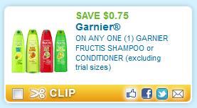 $0.75 off ONE (1) GARNIER FRUCTIS SHAMPOO
