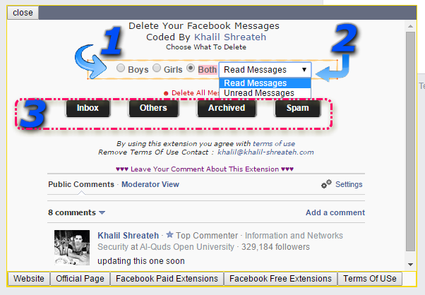 how to select and delete all messages on facebook