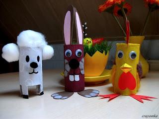 Wielkanocne zwierzętka z rolek po papierze toaletowym