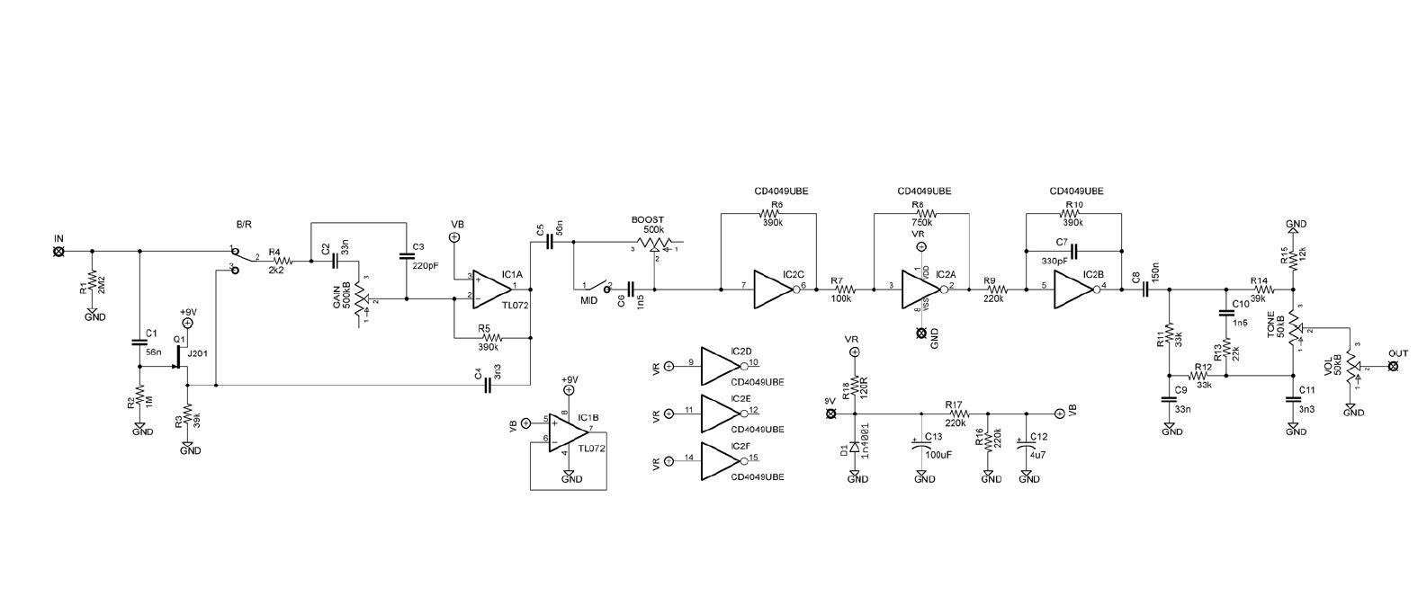 Diy Guitar Pedal Blog Blackstone Mosfet Overdrive Univibe Wiring Diagram Schematic