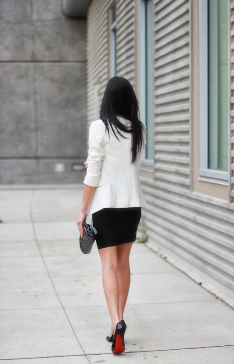 maje blazer joie silk blouse bcbg power skirt chain christian louboutin