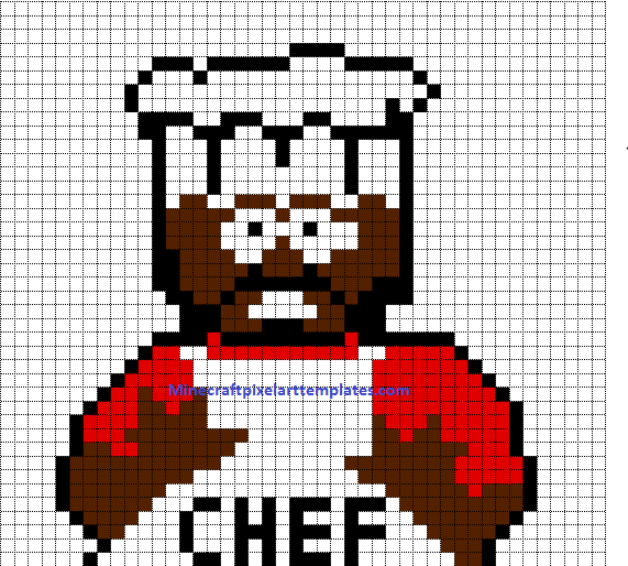 Minecraft Pixel Art Templates Chef south park – Chef Templates