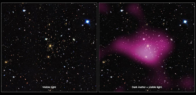 The first results have been released from a major new dark matter survey of the southern skies using ESO's VLT Survey Telescope (VST) at the Paranal Observatory in Chile.  The project, known as the Kilo-Degree Survey (KiDS), uses imaging from the VST and its huge camera, OmegaCAM to analyse images of over two million galaxies. The KiDS team studied the distortion of light emitted from these galaxies, which bends as it passes massive clumps of dark matter during its journey to Earth. From the gravitational lensing effect, these groups turn out to contain around 30 times more dark than visible matter.  Left, a group of galaxies mapped by KiDS. Right, the same area of sky, but with the invisible dark matter rendered in pink.  Credit: Kilo-Degree Survey Collaboration/A. Tudorica & C. Heymans/ESO