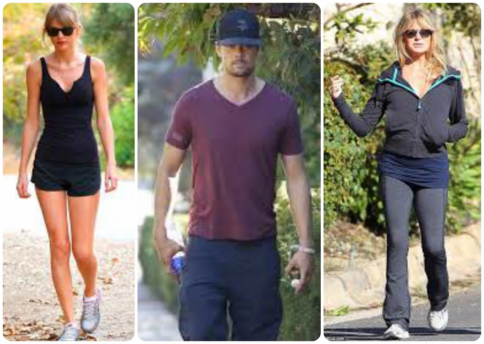 power walking - celebrities - taylor swift, josh duhamel, goldie hawn