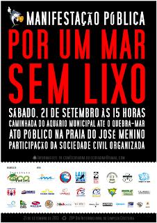 Cartaz da Manifestação pública por um mar sem lixo