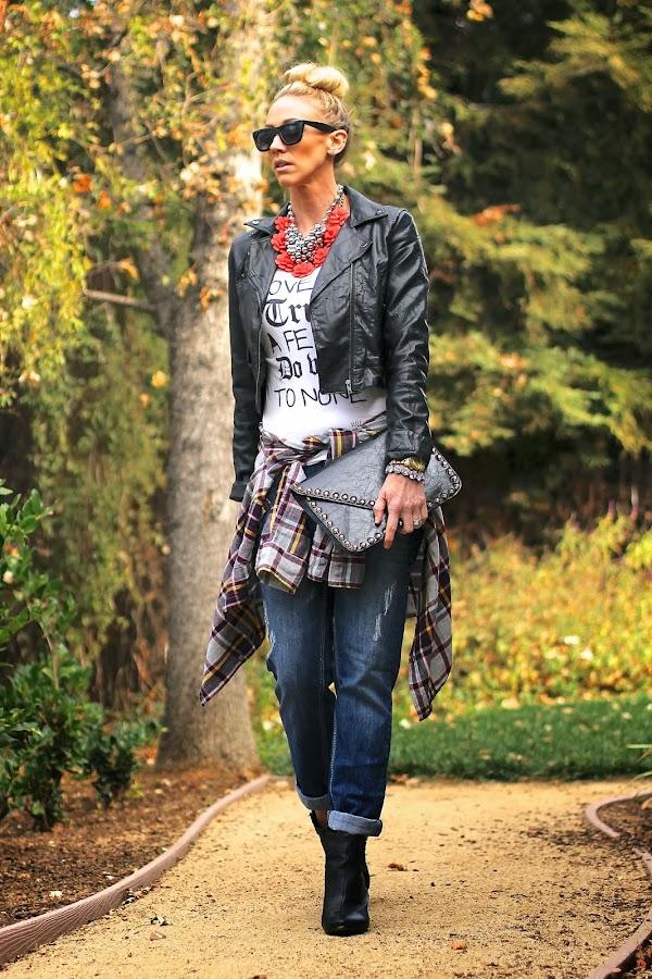 flannel with boyfriend jeans