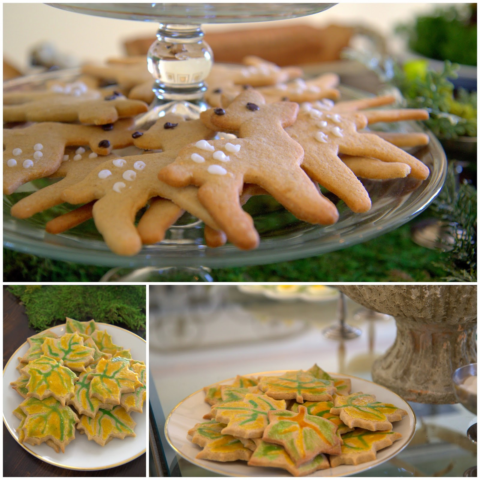 Woodland Party; Deer cookies and forest leaf cookies; dessert, party food: Nora's Nest