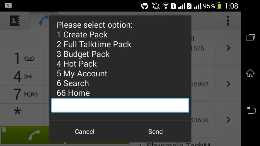 Creating myPack in Airtel Prepaid dial *129#