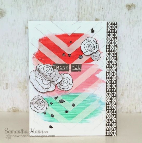 Thank you Rose Card by Samantha Mann  for the Inky Paws Challenge | Love Grows stamp set by Newton's Nook Designs