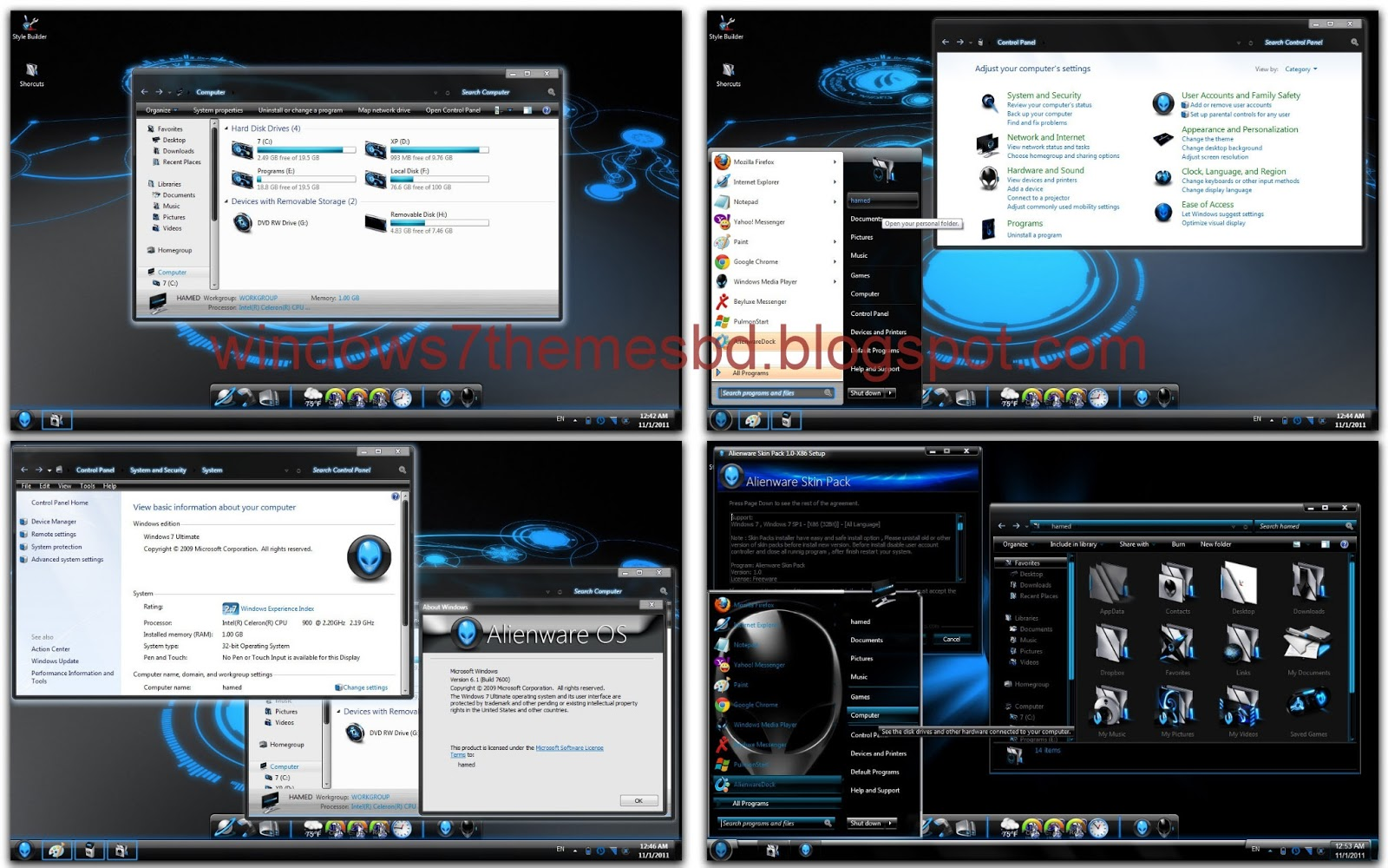 Windows 7 Alienware Blue Edition ISO Free Download