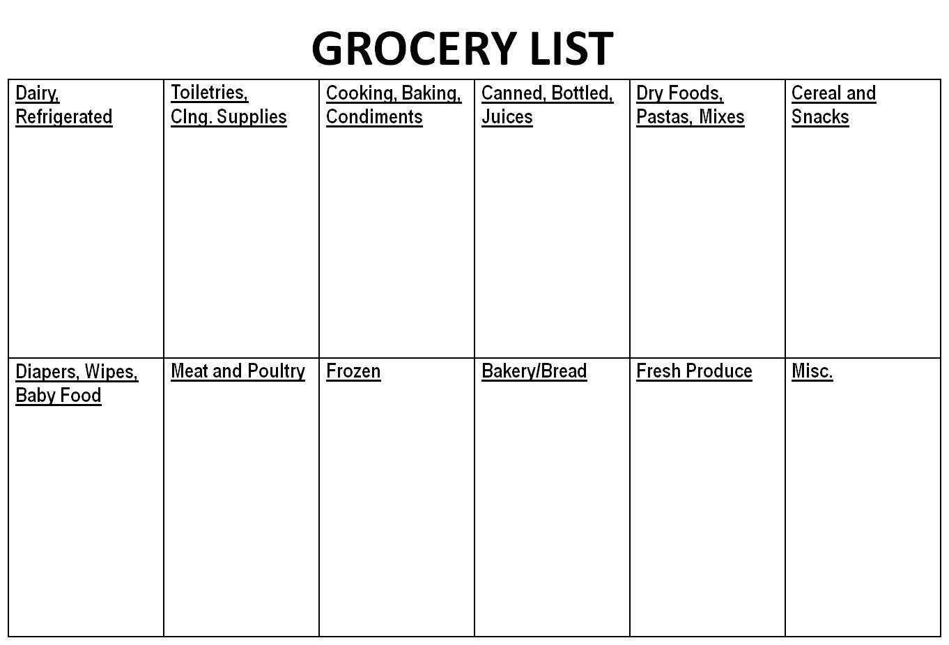 shopping list in microsoft word