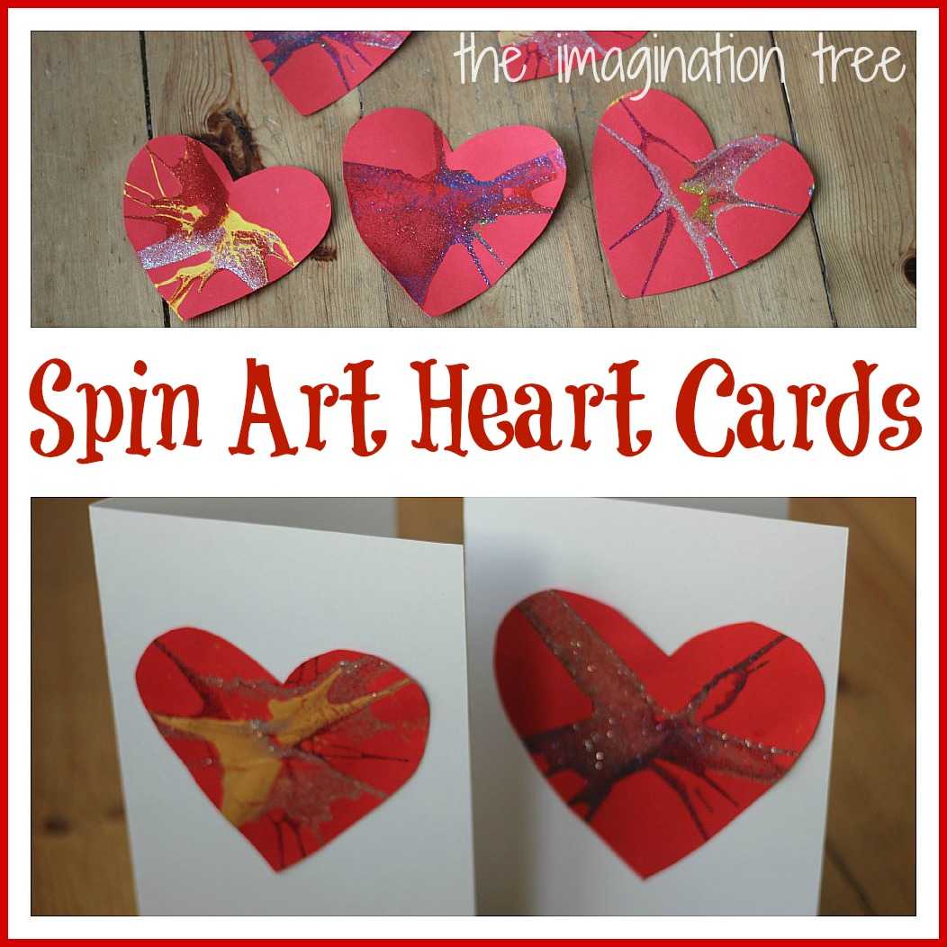 Spin art heart cards for valentines day the imagination tree we used our favourite method of salad spinner painting to create these beautiful hearts on bright red card ready for making cards and a garland for kristyandbryce Choice Image