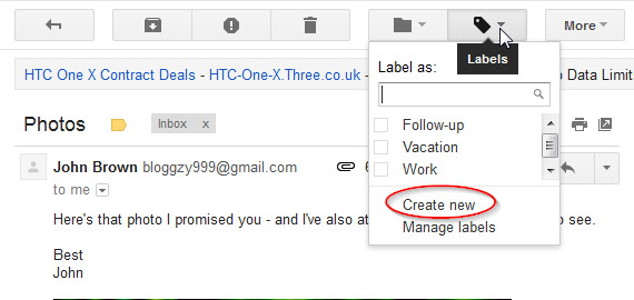 how to create a new label in gmail app