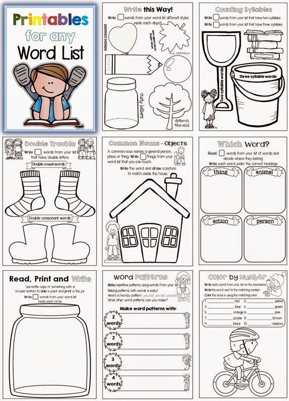 Printables for any Word List great for daily 5