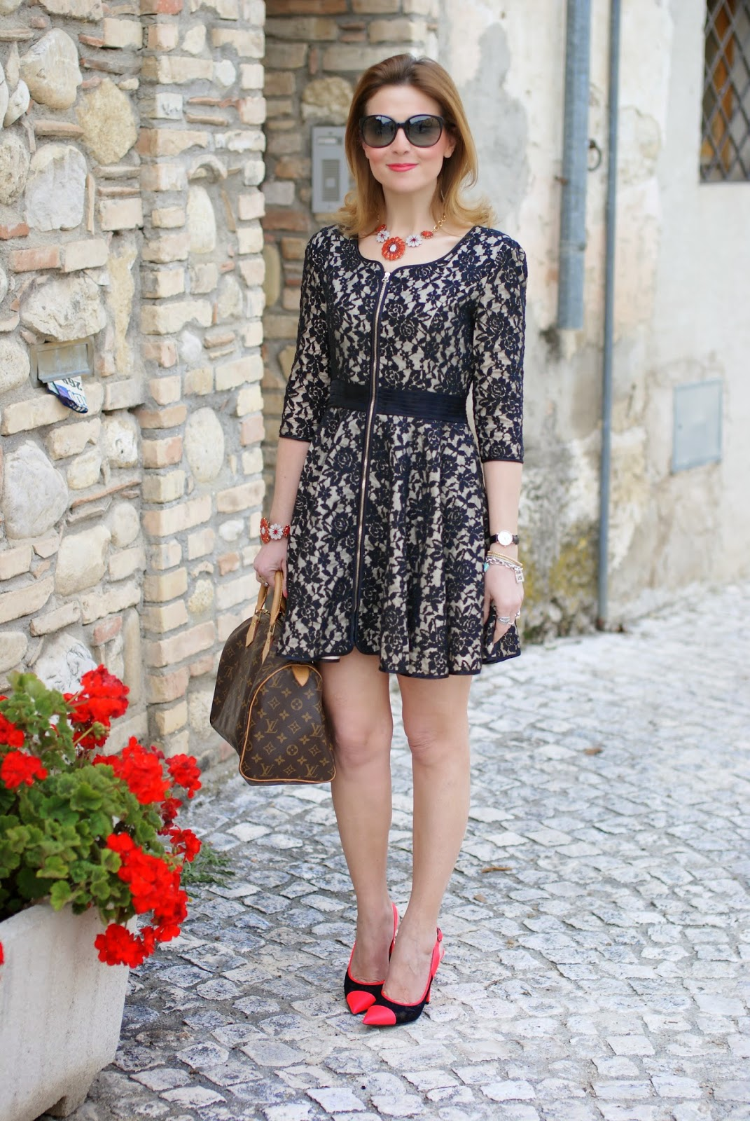 Blackfive black lace dress, Sodini bijoux, cap toe pumps, Louis Vuitton Speedy bag, Daniel Wellington watch, Fashion and Cookies, fashion blogger