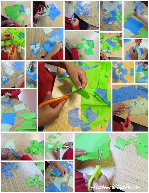 Preschool children cutting tissue paper for Earth Day collaboration, Head Start Art