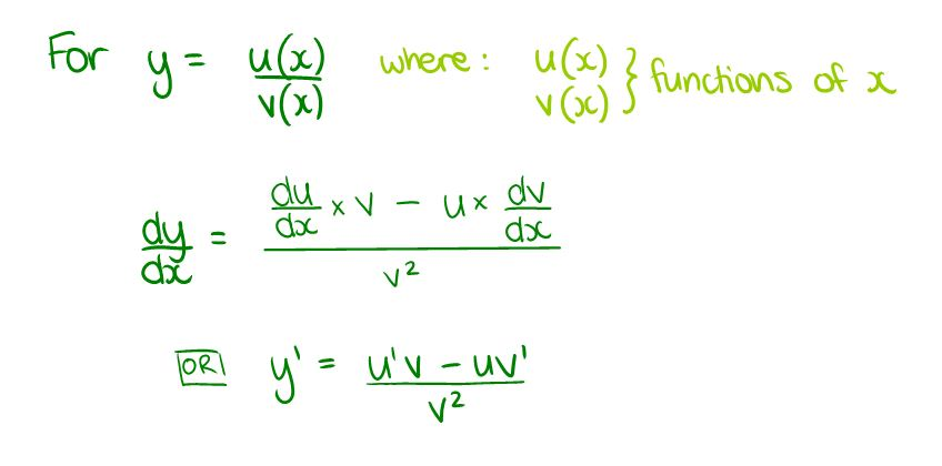 quotient rule formula. The Quotient Rule for