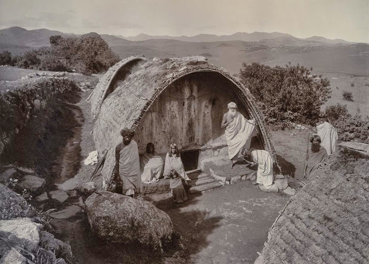Todas (South Indian Tribe) in front of their Hut - Albumen Print c1880's