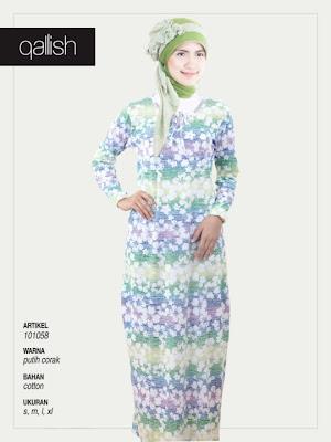 Produk Qallish Kaos Cardigan Koleksi Gamis Muslimah Putih Corak