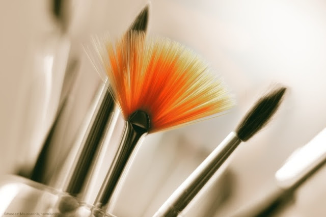 A photo of a set of beautiful painting brushes