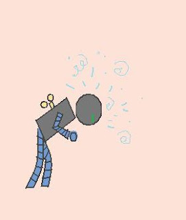 Run-down robot. Whrrr...
