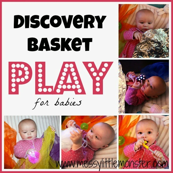 Playing with a discovery basket with your baby