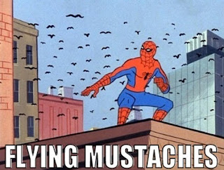 funny spiderman flying mustaches