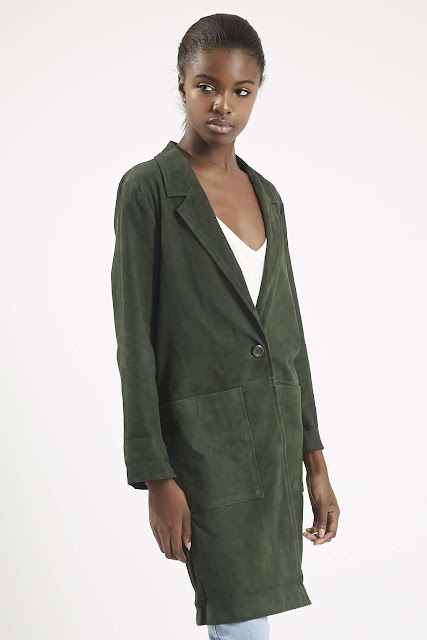 green suede coat, topshop suede coat,