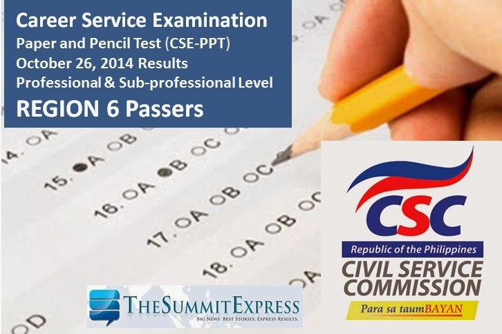 Region 6 List of Passers: October 2014 Civil service exam (CSE-PPT) results