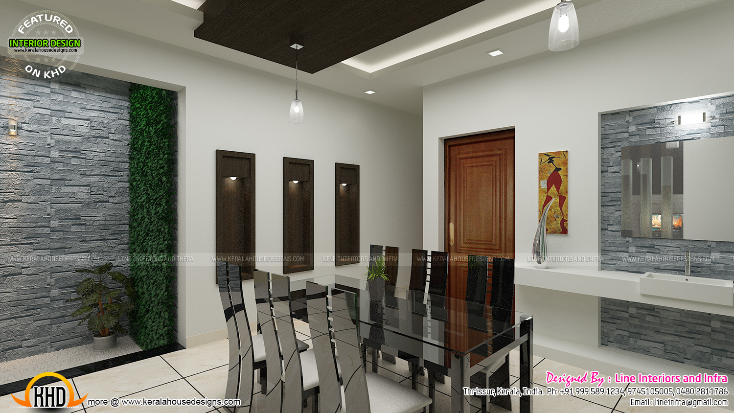 Contemporary Dining Living And Courtyard Interior Design Kerala Home Design And Floor Plans