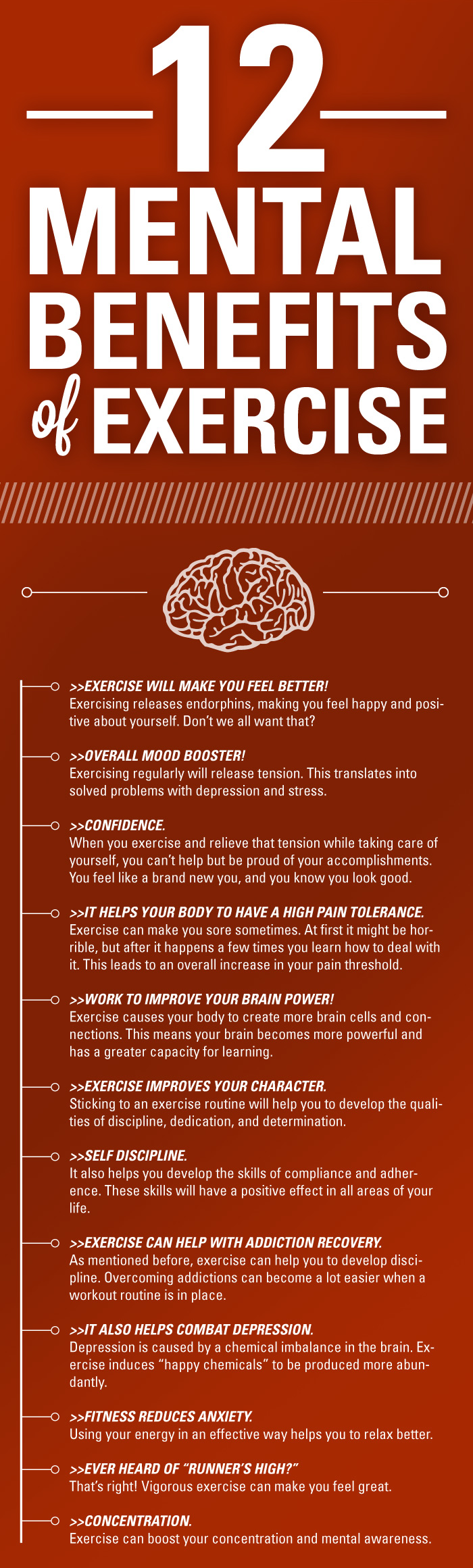 12 Mental Benefits of Exercise #Infographic