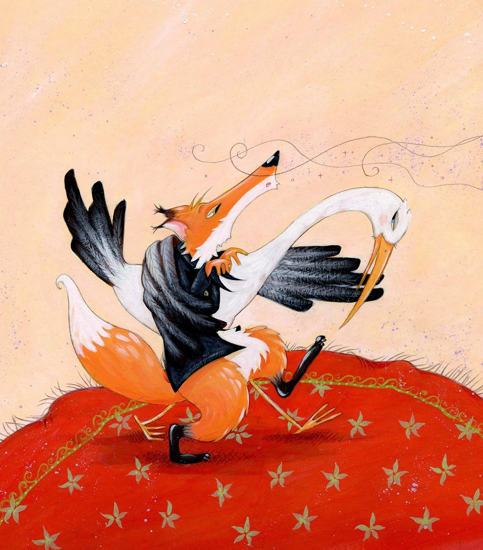 C line chevrel nostalgie illustrative du renard et la cigogne - Dessin le renard et la cigogne ...