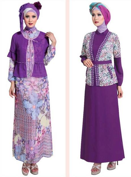 Baju Gamis Muslim Brokat Warna Ungu