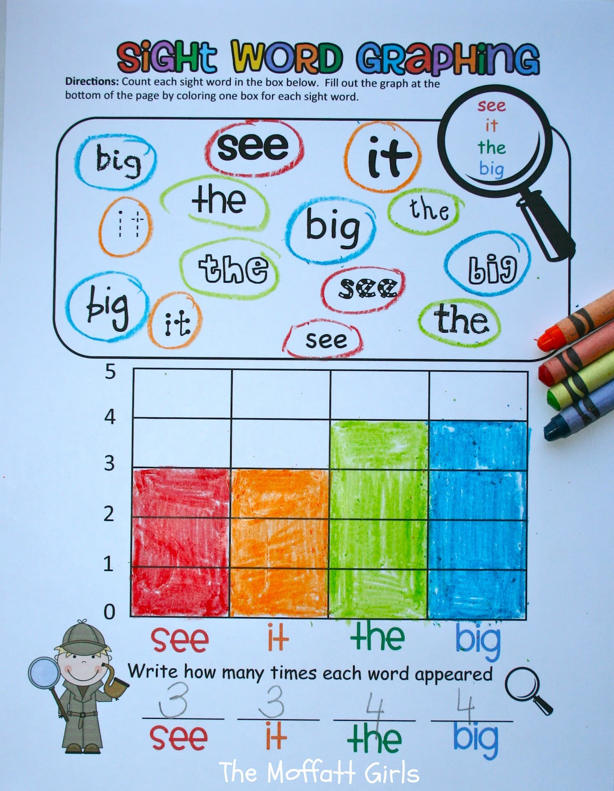 sight Word word worksheet Sight  now Graphing!