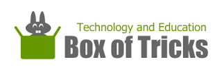 Green box with rabbit and the words Technology and Education, box of tricks.