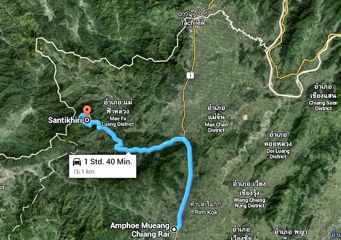 Strecke von Chiang Rai nach Santikhiri