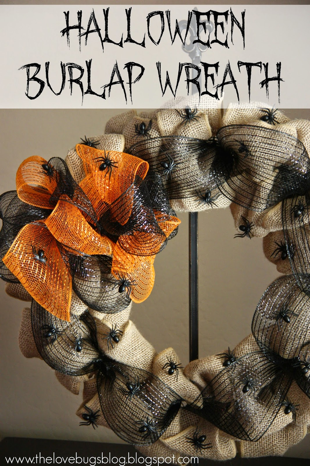 Halloween Spider Burlap Wreath