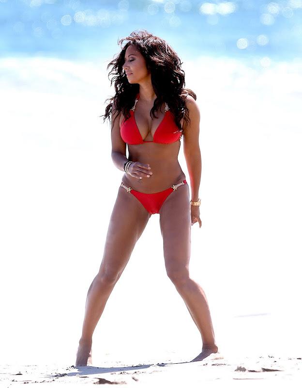 Mel B wearing red bikini in Malibu