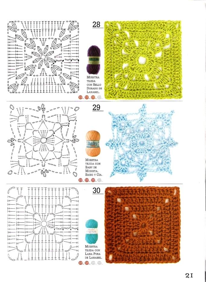 SOLO PUNTOS: cuadrados crochet