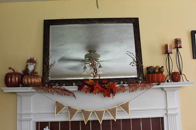 cat hair & glitter fall mantle