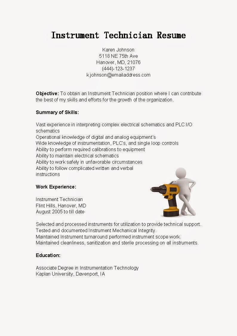 resume samples  instrument technician resume sample
