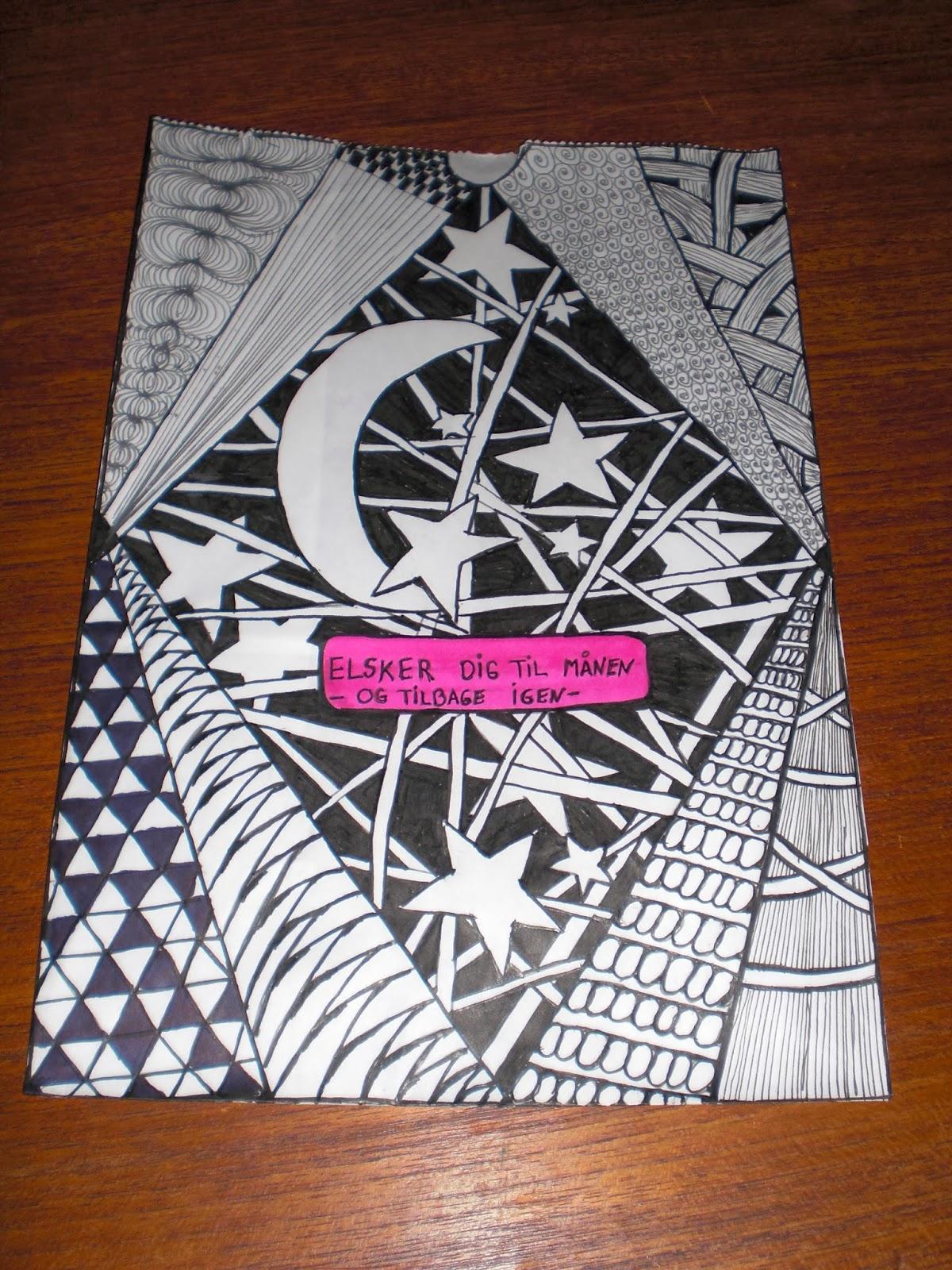 Zentangle kruseduller tegnet på lyspose