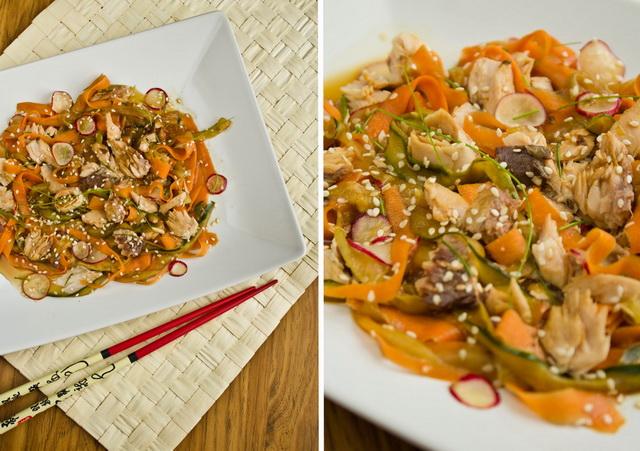 Салат с курицей огурцами и жареным луком