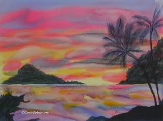 Hawaiian Coastal Sunset Art By Cori Solomon