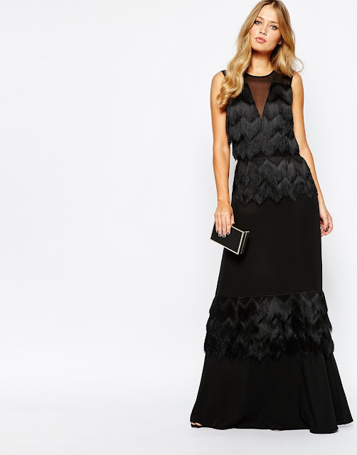whistles tassel black maxi dress, tassel black maxi dress,