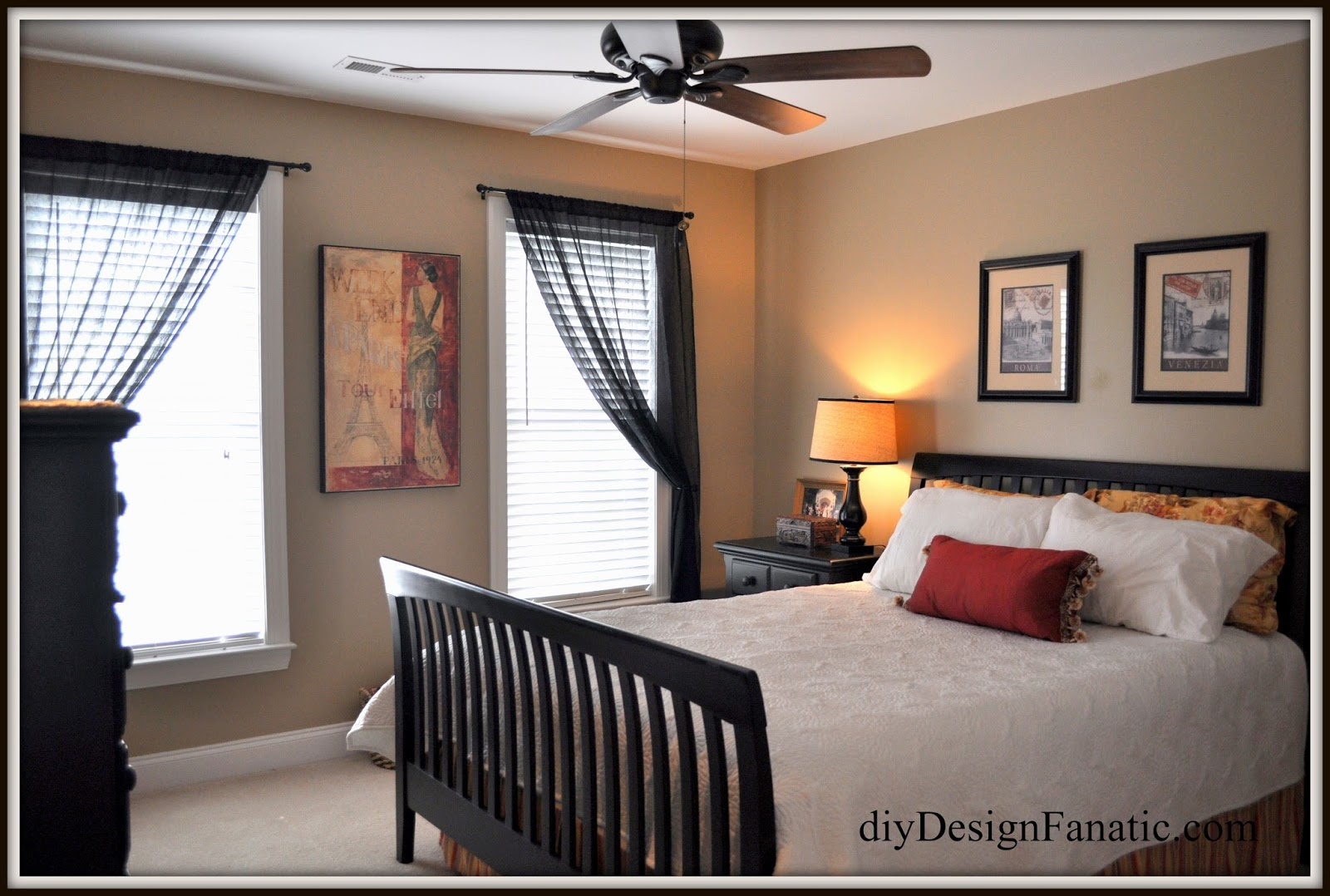 Awesome Here us how our Guest Bedroom looked before The black curtains furniture u accessories made the whole room look dark and smaller than it is