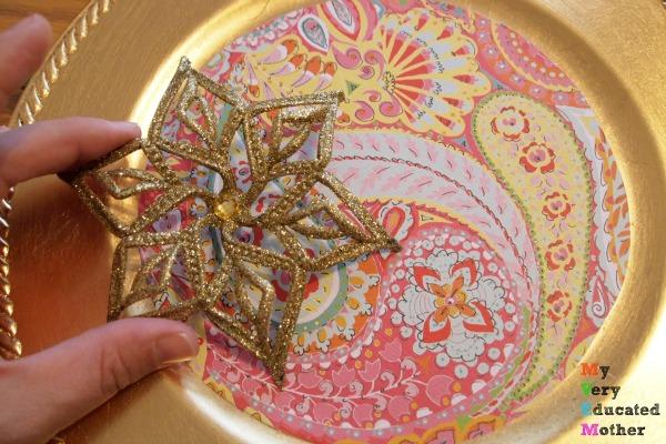 Adding embellishments to Dollar Store Christmas Card Holder