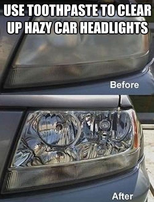 Lau sạch đèn pha ô tô bằng kem đánh răng
