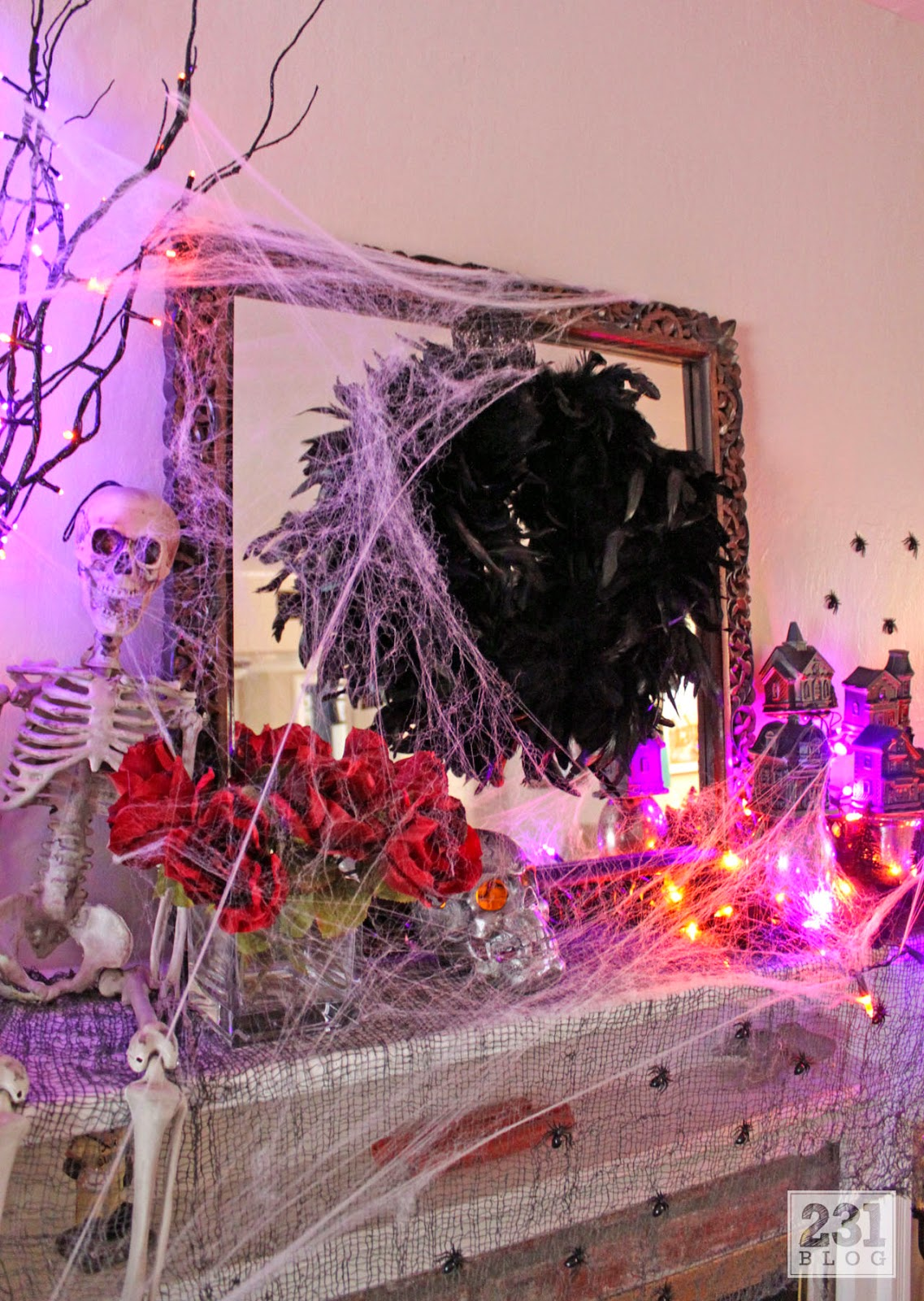 halloween mantel diy raven feather wreath